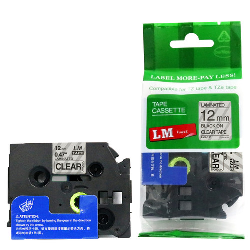 TZ-131 TZe-131 12mm Black on Clear Label Tape Ribbons for Brother P-touch 1//2/'/'