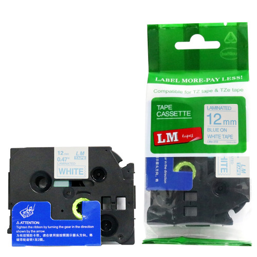 Replacement p-touch blue on white label tape