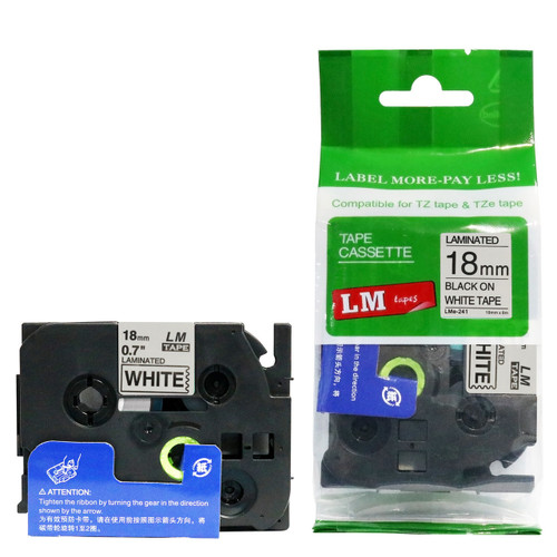 Replacement p-touch black on white label tape