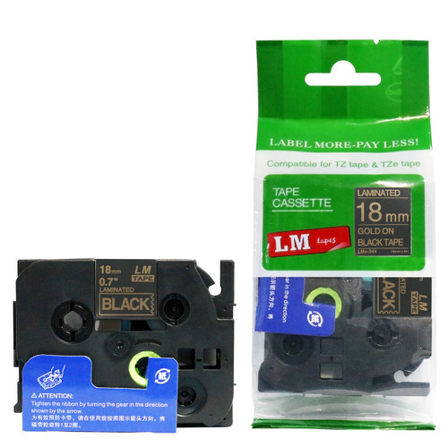 Replacement p-touch gold on black label tape