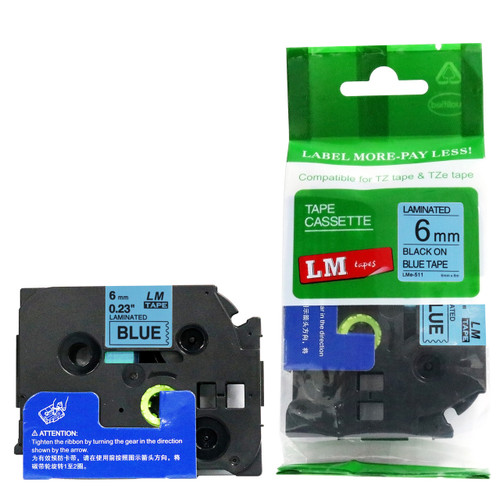 Replacement p-touch black on blue label tape