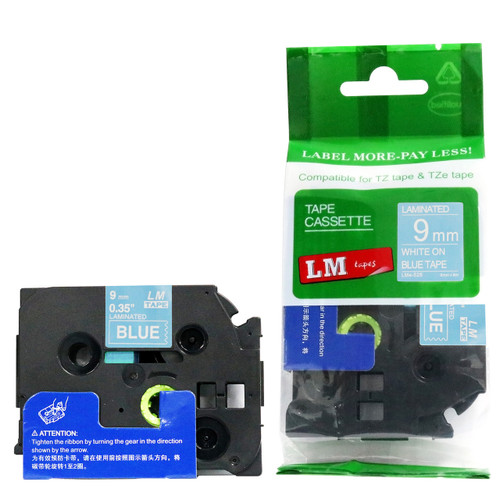 Replacement p-touch white on blue label tape