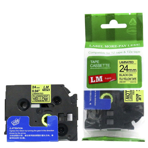 24mm black on Fluorescent Yellow tape