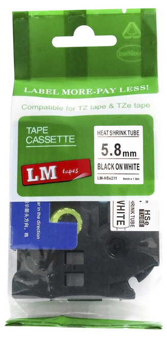 Compatible HSe-211 heat shrink tube black on white