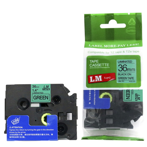 Replacement p-touch black on green label tape 36 mm