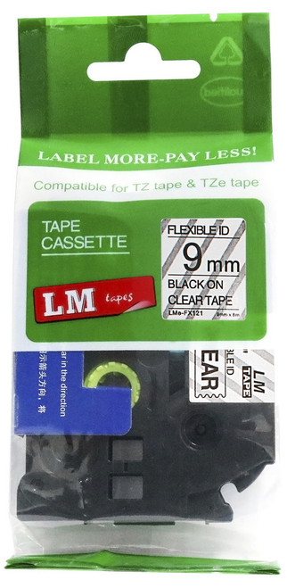 9mm black on clear flexible tape