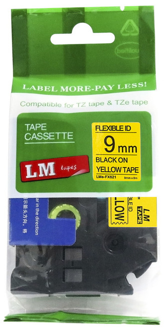 9mm black on yellow flexible tape