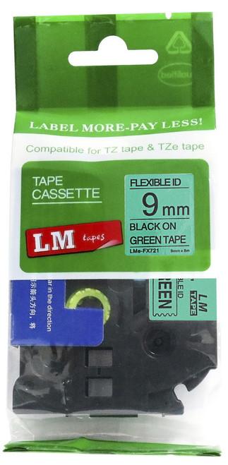 9mm black on green flexible tape