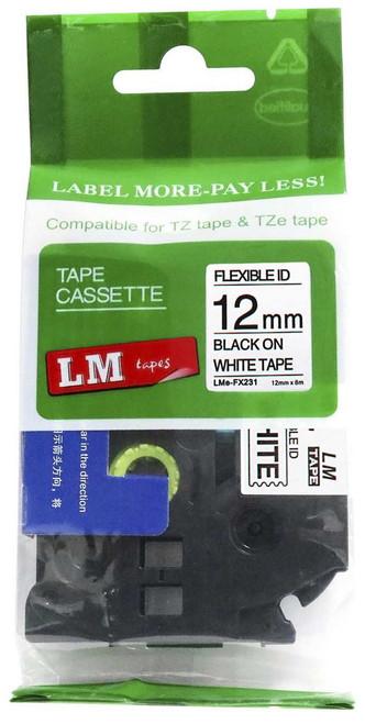 12mm black on white flexible tape