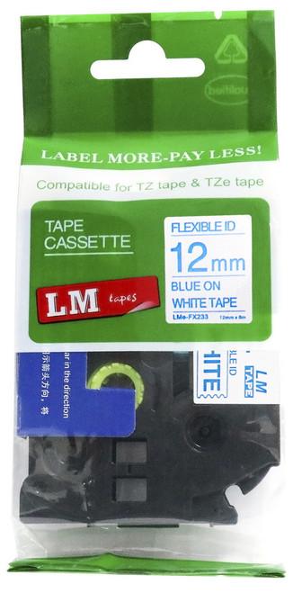 12mm blue on white flexible tape