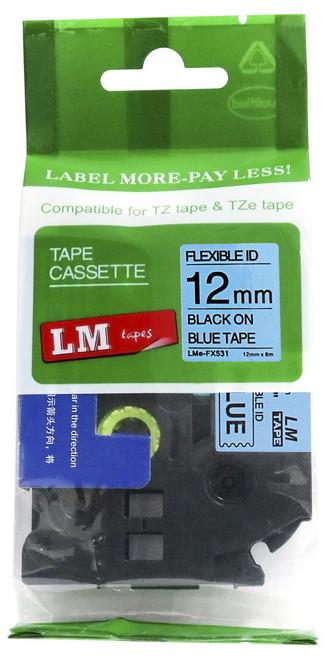 12mm black on blue flexible tape