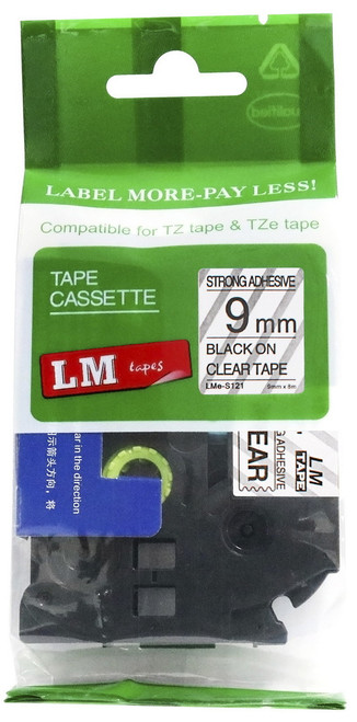 9mm black on clear extra strength tape