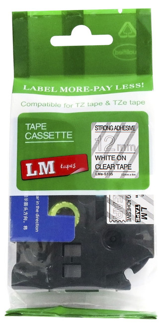 12mm white on clear extra strength tape
