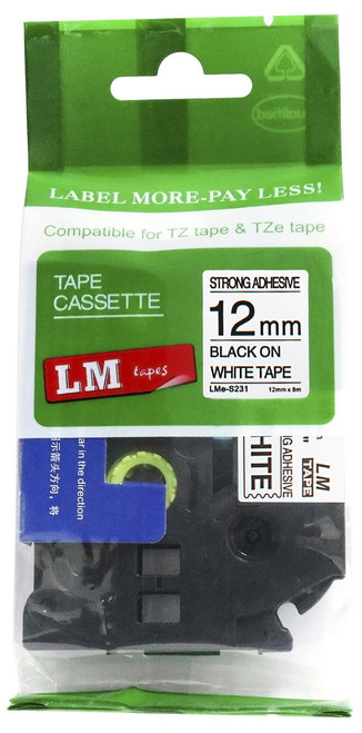 "1/2"" black on white industrial label"