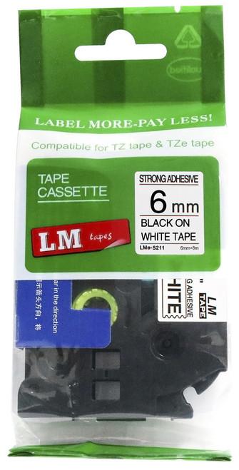 6mm black on white extra strength tape