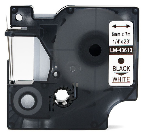 Compatible Dymo 43613 D1 tape black on white