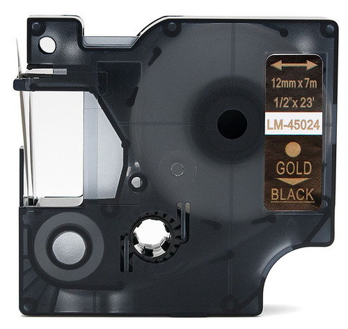 Compatible Dymo 45024 D1 tape gold on black