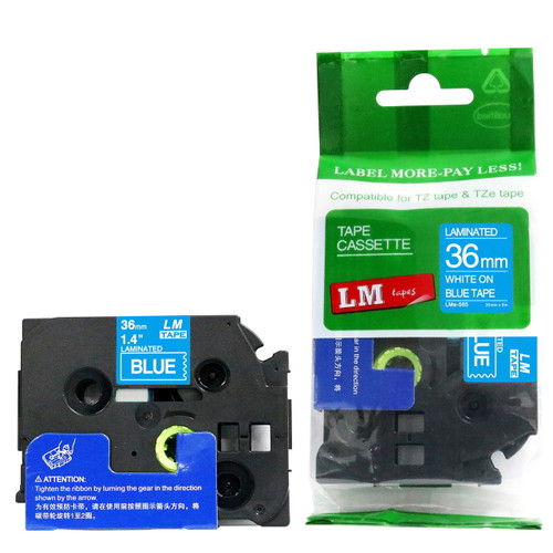Replacement p-touch white on blue label tape 36 mm