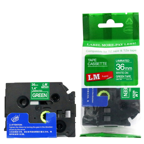 Replacement p-touch white on green label tape 36 mm
