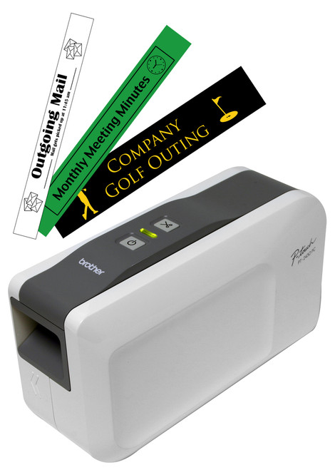 PT2430PC p-touch printer left view with p-touch labels