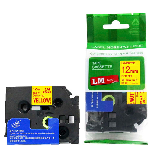 Replacement p-touch red on yellow label tape