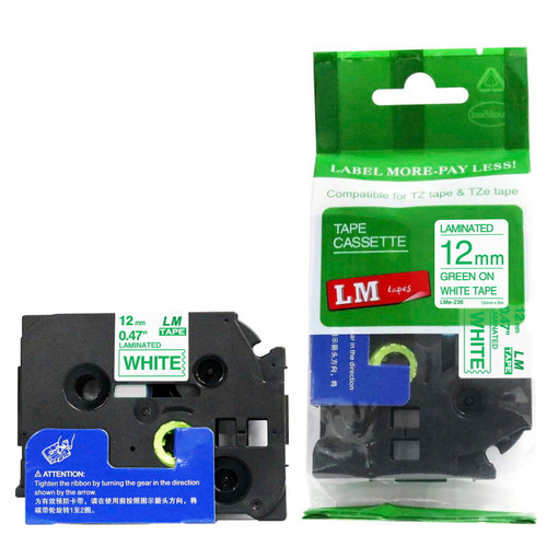 Replacement p-touch green on white label tape