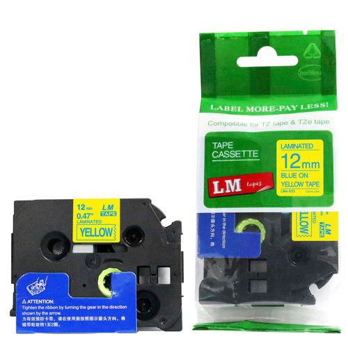 Replacement p-touch blue on yellow label tape