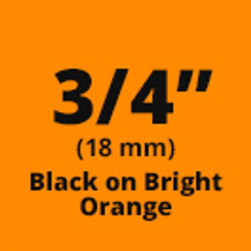"""3/4"""" Black on Orange ptouch label"""