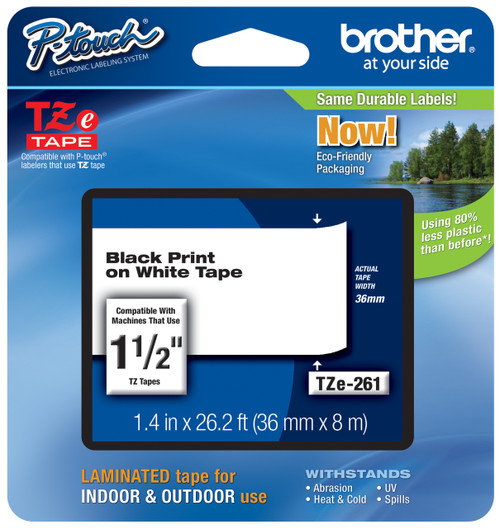 """4PK For Brother P-Touch TZ-261 Black on White Label Tape 36mm TZe261 1.5/""""x26.2ft"""