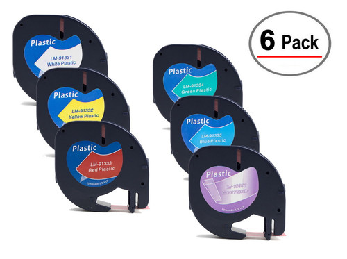 6 Tape multi-pack Compatible with Dymo LetraTAG tapes