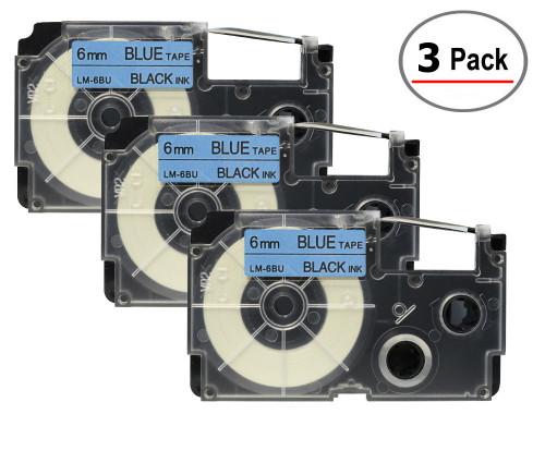 compatible xr-6bu 6mm casio black on blue tape