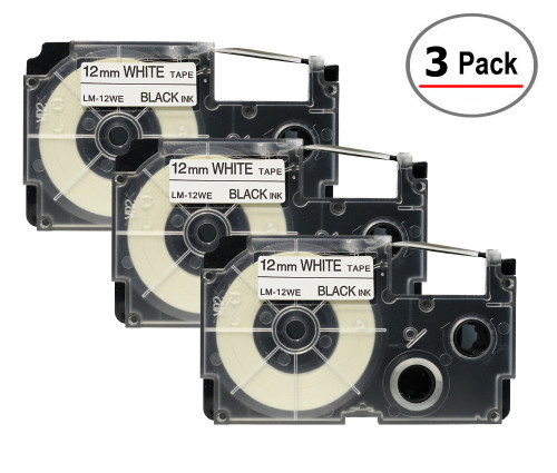 Compatible XR-12WE Label-It tape - 12mm black on white