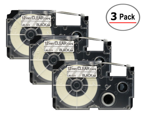 Compatible XR-12X Label-It tape - 12mm black on clear