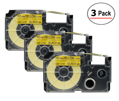 Compatible XR-12YW Label-It tape - 12mm black on yellow