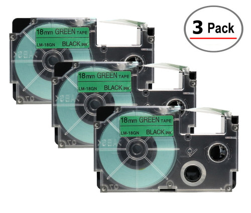 Compatible XR-18GN Label-It tape - 18mm black on green