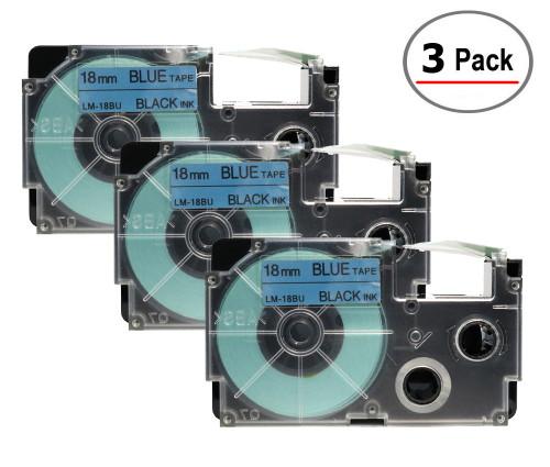 Compatible XR-18BU Label-It tape - 18mm black on blue