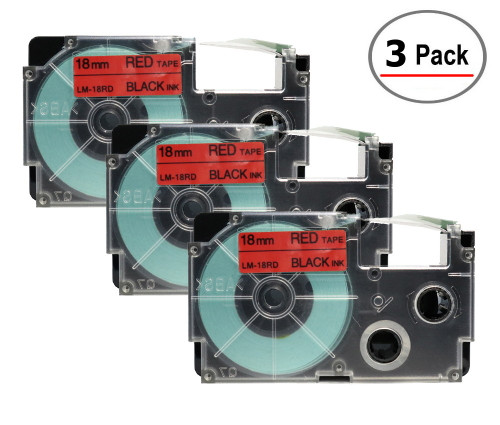 Compatible XR-12RD Label-It tape - 18mm black on red