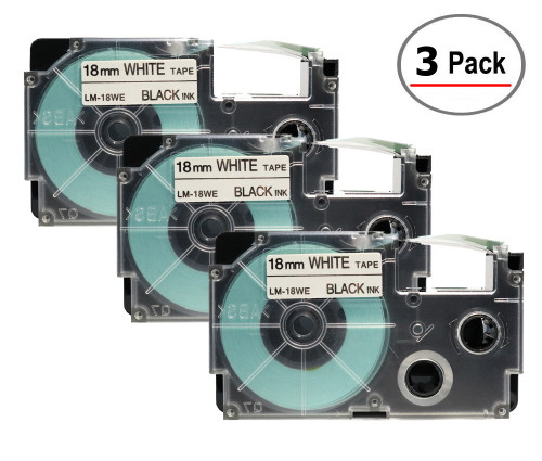 Compatible XR-18WE Label-It tape - 18mm black on white