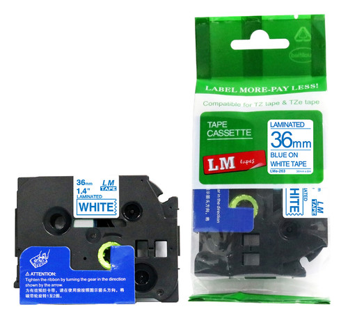 Replacement p-touch blue on white label tape 36 mm