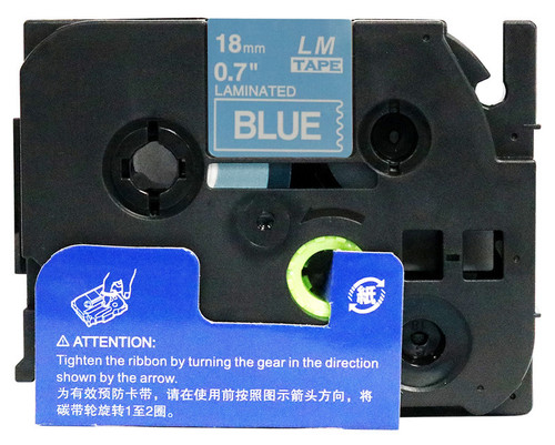 LME545 18mm white on blue tape open box