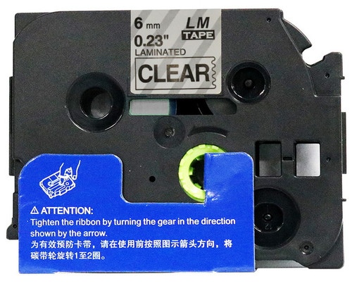 1/4 black on clear label tape open box
