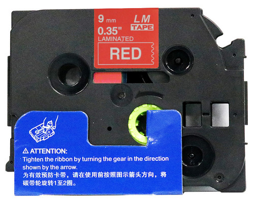 open box 3/8 white on red label tape