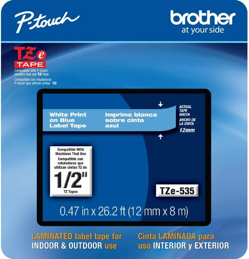 Brother TZe-535 p-touch tape white on blue