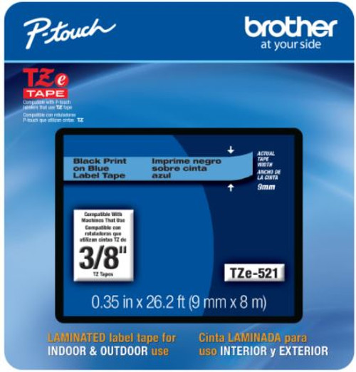 Brother TZe-521 p-touch tape 9mm black on blue