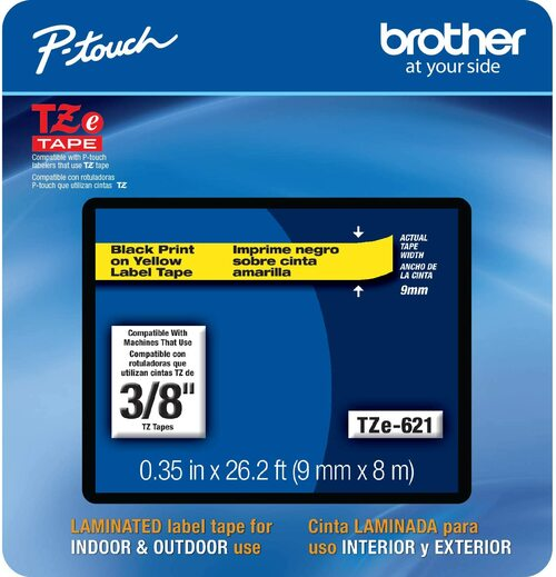Brother TZe-621 p-touch tape 9mm black on yellow