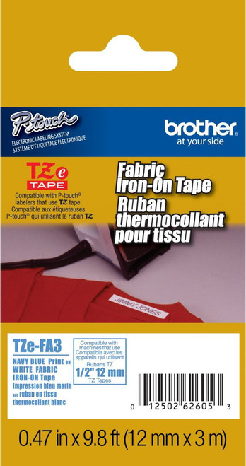 TZe-FA3 TZ-FA3  Blue on White Tape for Brother Fabric Iron PTD600 1010 12mm 1//2/""