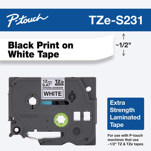 """Brother tzes231 black and white 1/2"""" extra strength"""