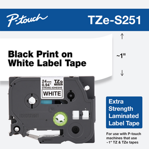 "1"" black on white extra strength 24mm"