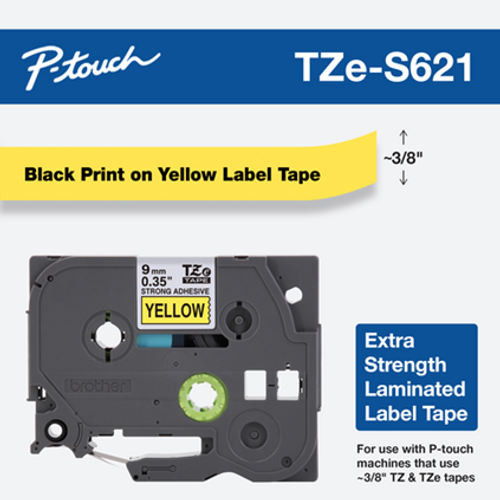 """3/8"""" black on yellow extra strength ptouch 9mm"""