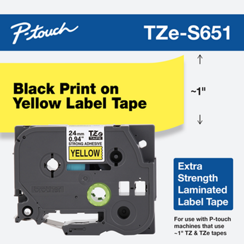 "1"" black on yellow extra strength adhesive 24mm"